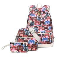 Set Backpack Women Animal Owl Printing Backpacks For Teenage Girls Canvas Bookbags Women Shoulder Bags Purse