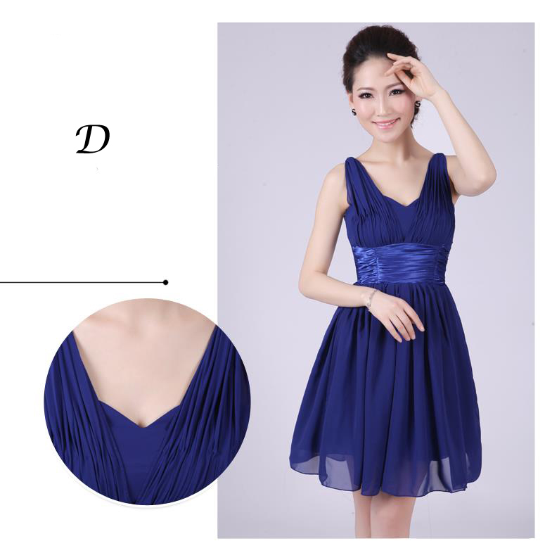 2014 nouveau court de demoiselle d\u0027honneur robe bleu royal en mousseline de  soie pour adultes chérie robes pour prom party plus size robe de mariée  robes
