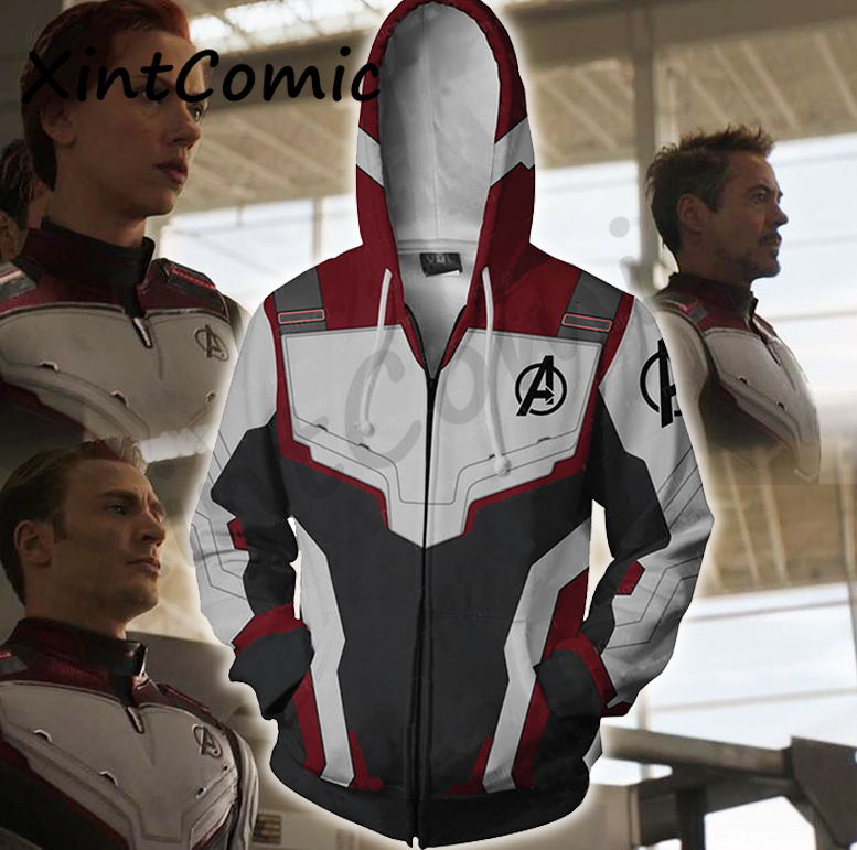 The Avengers 4 Endgame Quantum Realm Cosplay Costume Hoodies Men Zip Up Hooded trousers Polyester adult Kid Jacket Suit