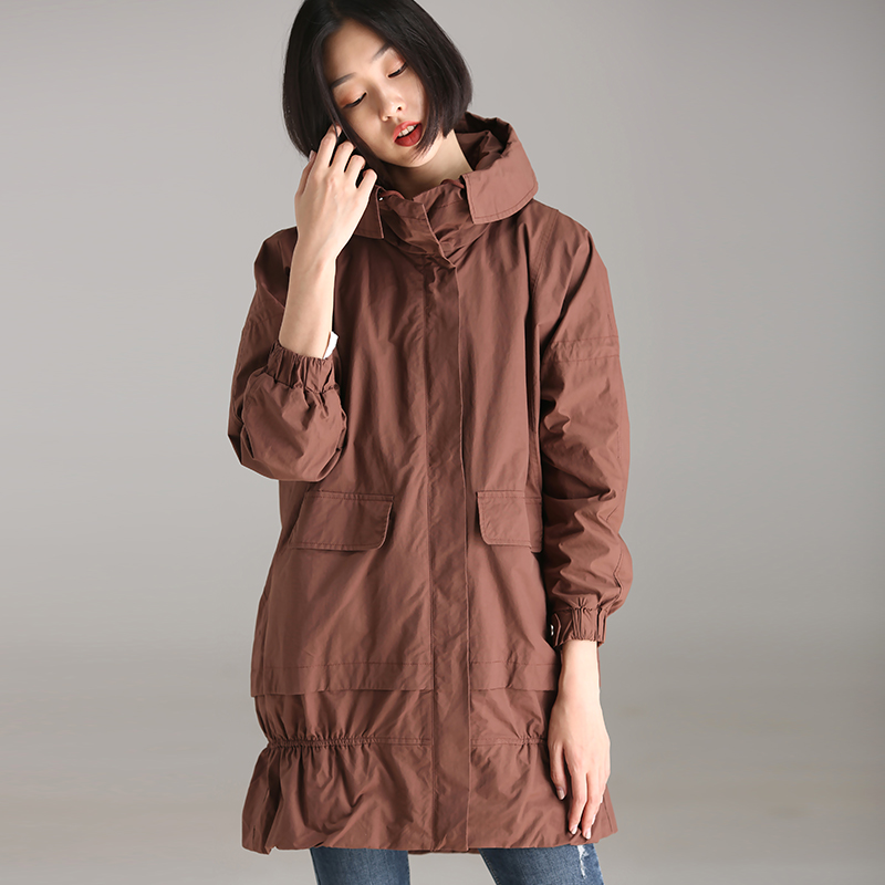 W1815 Commuter art big size loose plaited plaited square lid double pocket drawstring hooded coat