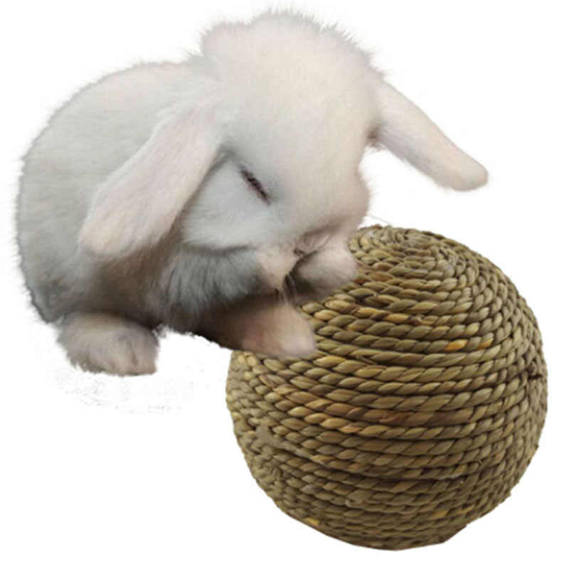 Diy acessórios rattan bola brinquedo coelho pé palha bola 3 tipos 6-9cm animais de estimação pássaros papagaio brinquedo