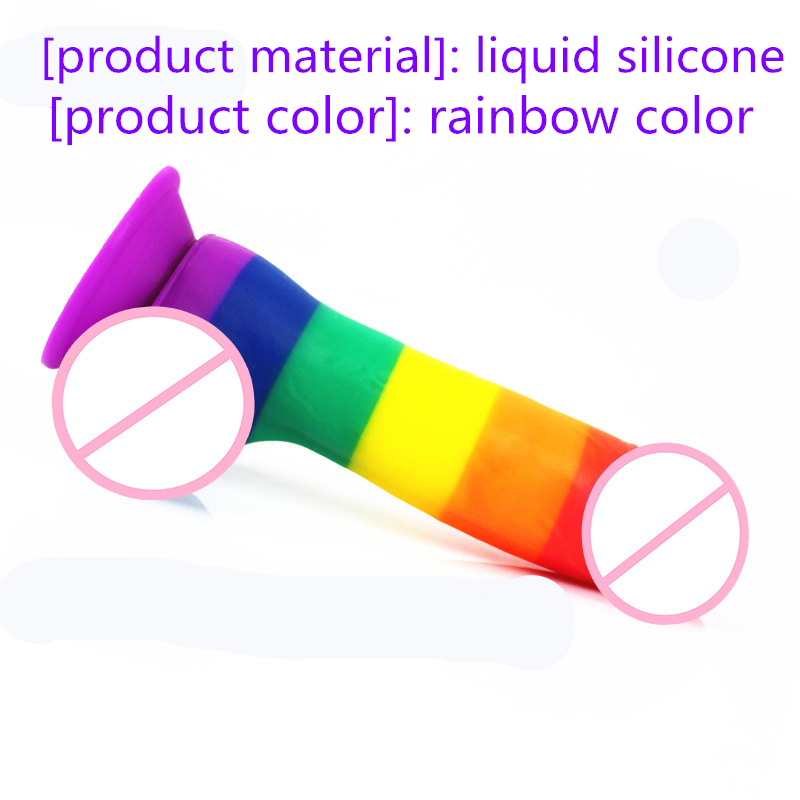 Rainbow color Realistic Huge Penis Powerful Suction Cup Silicone Dildo Vagina G point Massager Adult Sex Toys For Women With