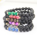 Ailatu New Design High Quality Black Lava Stone Jewelry Sea Sediment Imperial Beads Stretch Energy Yoga Gift Bracelets