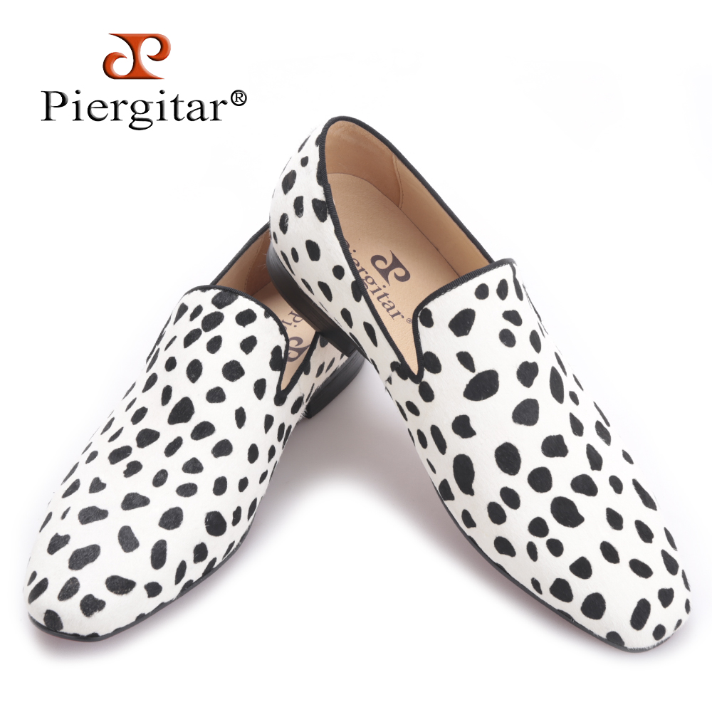 Piergitar 2017 new handmade men fashion party and wedding loafers Zebra pattern horse hair men dress shoes Plus size male flats men loafers paint and rivet design simple eye catching is your good choice in party time wedding and party shoes men flats