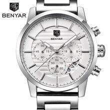 Купить с кэшбэком BENYAR 2017 Men Watches Brand Luxury Men Military Wrist Watches Full Steel Men Sports quartz Watch Waterproof Relogio Masculino