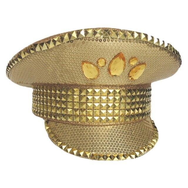 Gorra dorada de alto rendimiento británico de alta calidad gorra brillante  para escenario sombrero parche sombrero ca9645fb2fd
