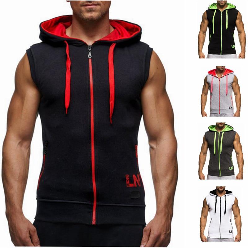 5 Colors Zipper Vest Men   Tank     Tops   Hooded Tanktop Sleeveless Mens Casual Jackets   Tanks   Black Vests Mens   Tank     Top   Streetwear