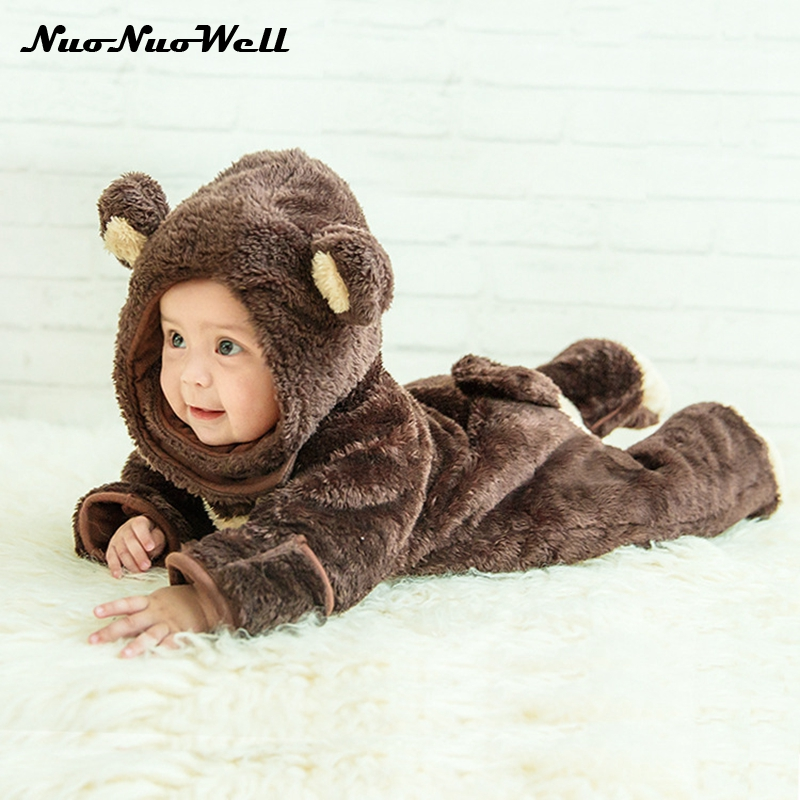 2017 Newborn Infant Baby Girl Boy Clothes Cute Bear Style Romper Thick Jumpsuit Playsuit Winter Warm Kids Rompers for 0-2 years 2017 new baby rompers winter thick warm baby girl boy clothing long sleeve hooded jumpsuit kids newborn outwear for 1 3t