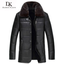 2017 New Brand Men's leather Jacket wool liner Genuine sheepskin mink fur collar Luxury male coat 61Z1386