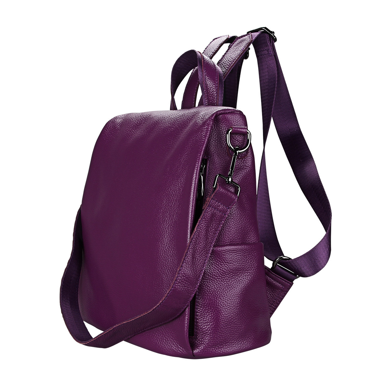 Solid Genuine Leather Teenage College Grils Backpack High Quality Women Stylish Chic Travel Backpack Female Fashion