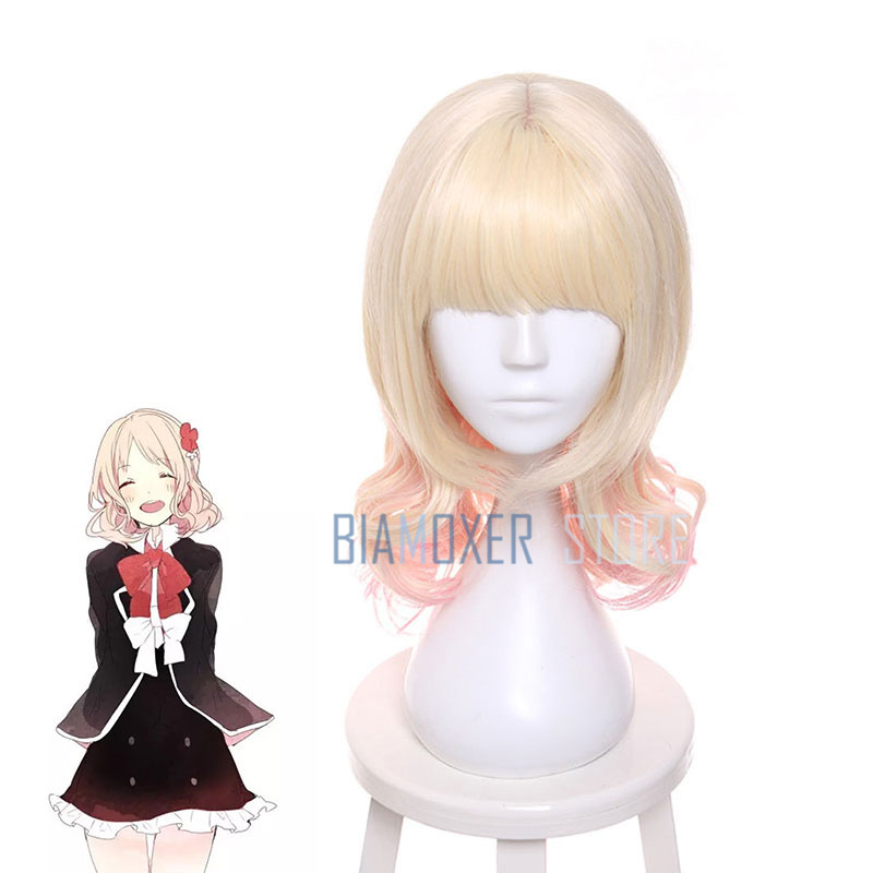 Biamoxer 45cm Diabolik Lovers Yui Komori Cosplay Wigs Blonde Mixed pink Synthetic Hair Perucas Cosplay Wig necklace headwear
