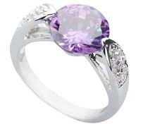 Clever Purple Stone 10*10mm Semi-precious Stone Silver Cool For Women Ring Q1886