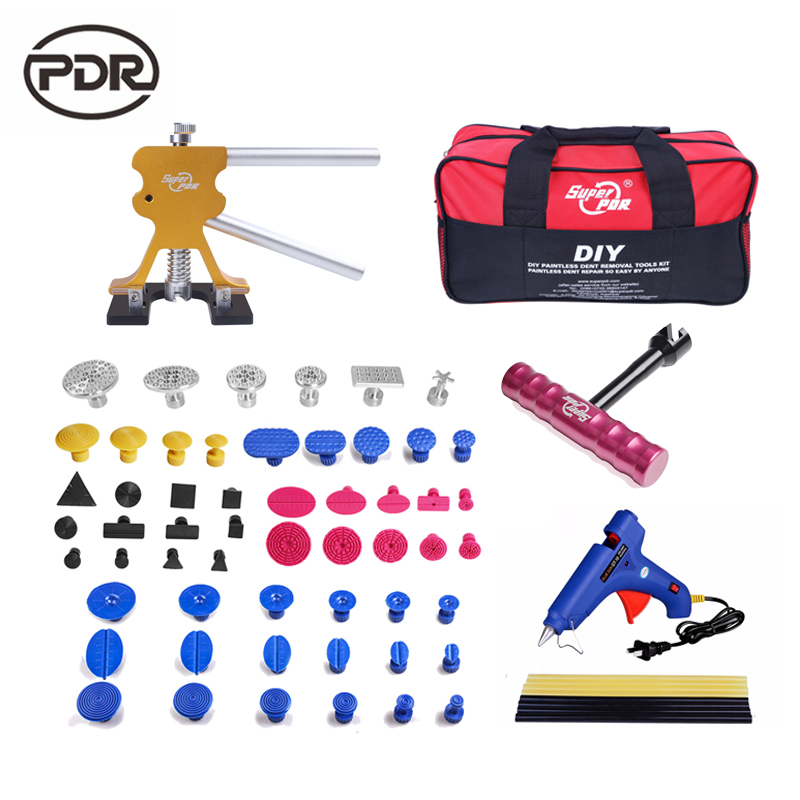 Super PDR Tools Car Body Repair Kit Tool To Remove Dents Auto Tools Dent Lifter T-Bar Puller Kit 220 V Glue Gun Tool Bag pdr toolkit auto repair tool to remove dents car body repair paintless dent repair pulling bridge 12 v glue gun