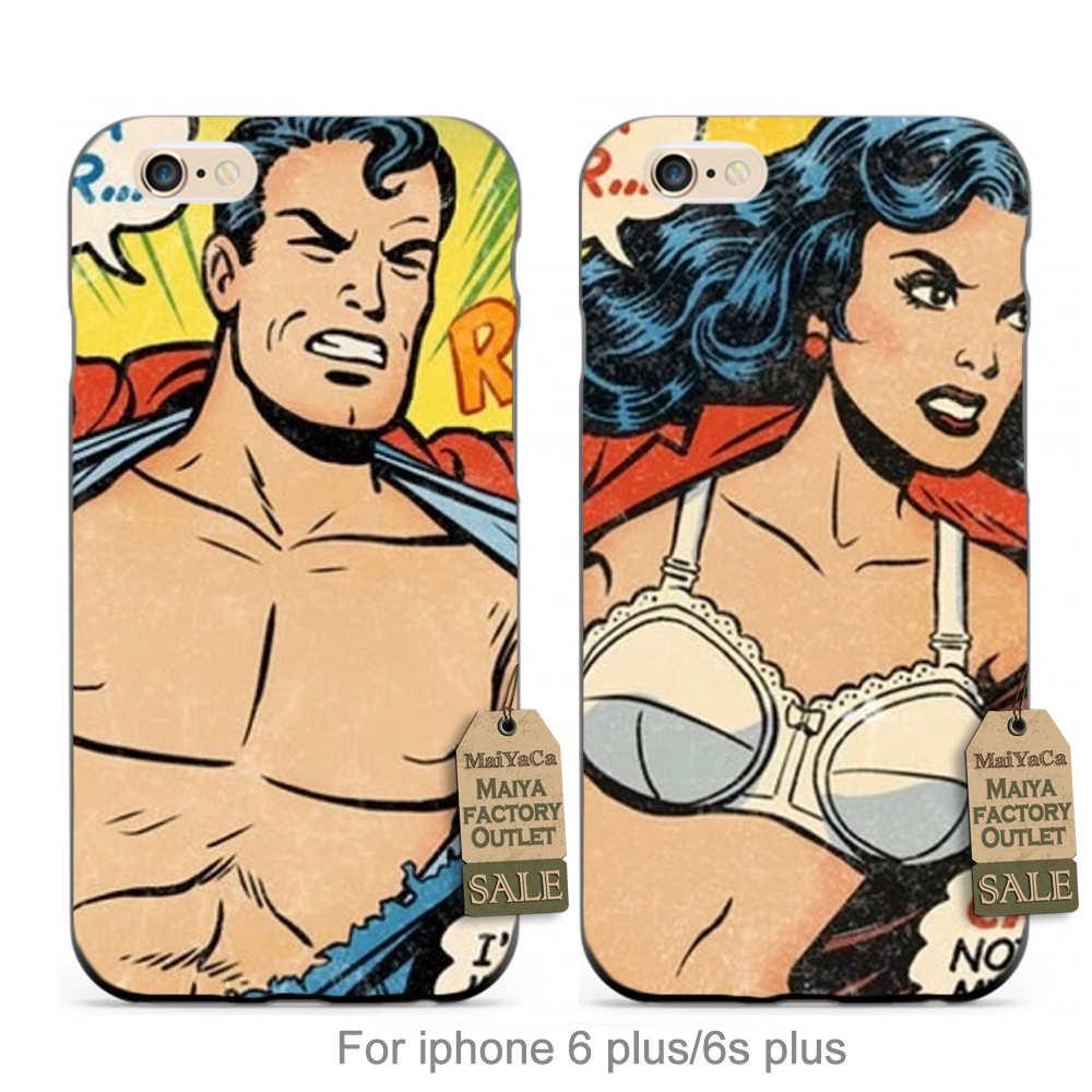 Superhéroe y wonder woman cartoon (2) pareja caliente impreso accesorios del tel