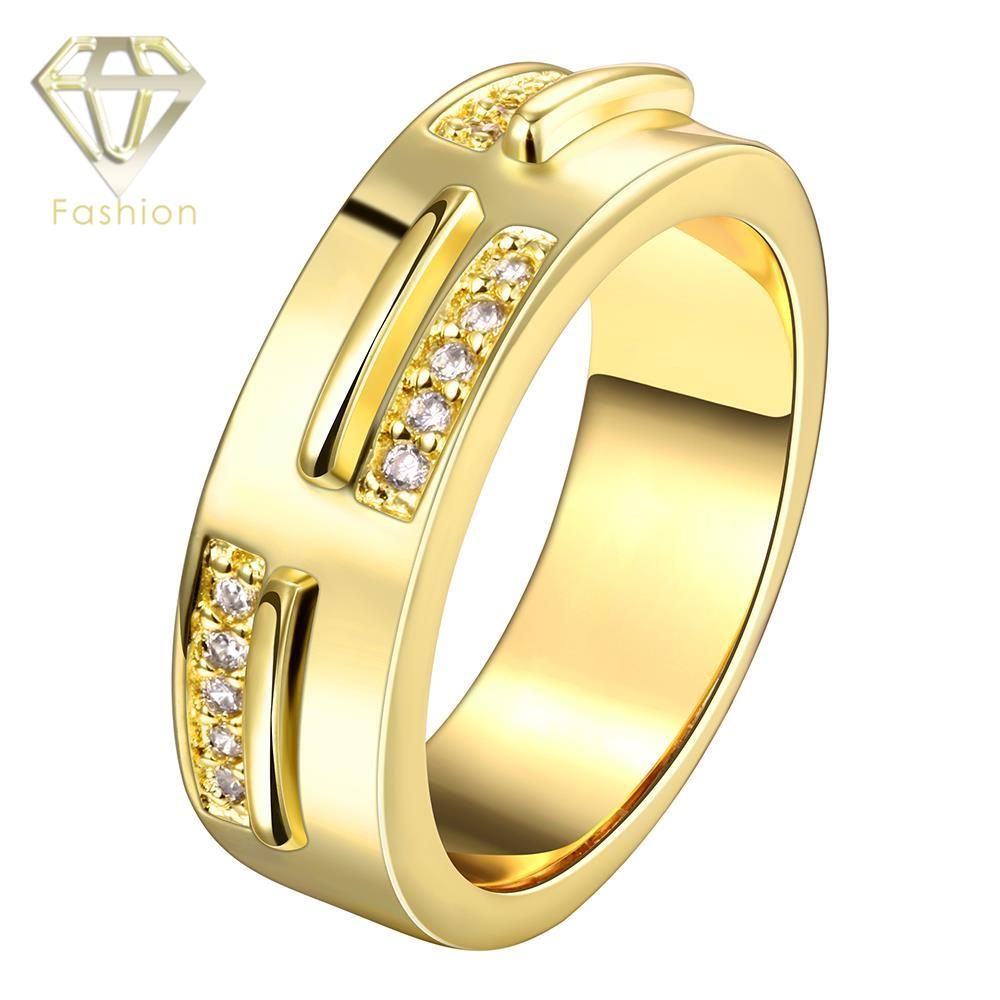 unique engagement ring classic gold color inlaid cz