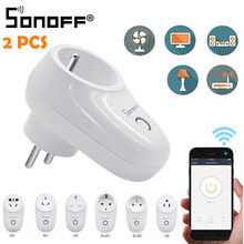 1/2PCS Sonoff S26 WiFi Smart Socket US/EU/UK Wireless Plug Power Socket Smart Home Switch Work With Alexa Google Assistant IFTTT(China)