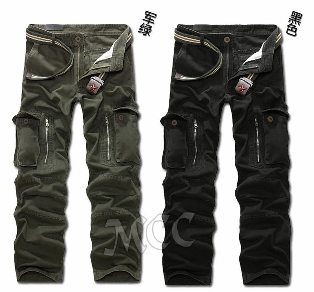 MIXCUBIC brand army tactical pants Multi-pocket washing 100% cotton army green camouflage cargo pants men plus large size 28-40 3