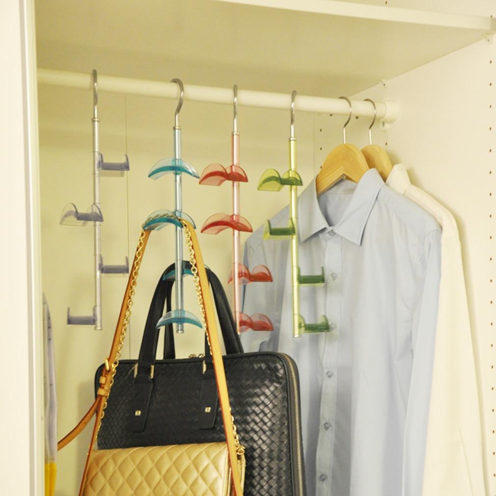 New 4-Hooks Handbag Bag Holder Shelf Hanger Hanging Rack Storage Organizer Rear Door Color Sent At Random