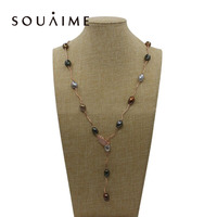 YKIN Pearl Jewelry Natural Freshwater Pearl Sweater Chain Mixed Color Special Shaped Pearl Necklace Ladies