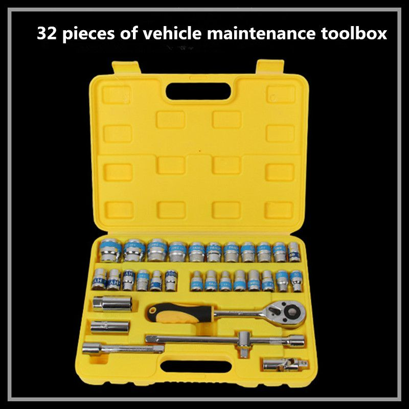 32 piece combination sleeve tool combination auto repair tools hand tools ratchet wrench tool kit.