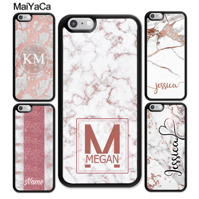 ec92a334efe MaiYaCa PERSONALISED ROSE GOLD MARBLE INITIALS NAME CUSTOM Mobile Phone  Cases For iPhone 6 6S 7 Plus 8 X XR XS MAX 5S SE Cover