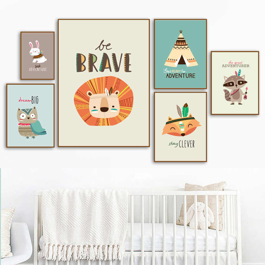 Cartoon Lion Koala Fox Rabbit Tent Animal Wall Art Canvas Painting Nordic Posters And Prints Wall Pictures Boy Kids Room Decor
