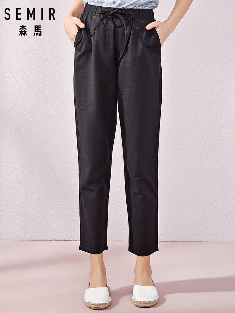 SEMIR Summer New Casual Pants Female Students Korean Version Linen Pants Thin Carrots Students Summer Trend