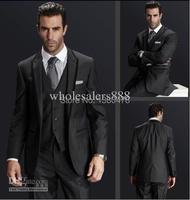2014 Center Vent Charcoal Grey One Buttons Groom Tuxedos Best Man Notch Lapel Groomsmen Men Wedding