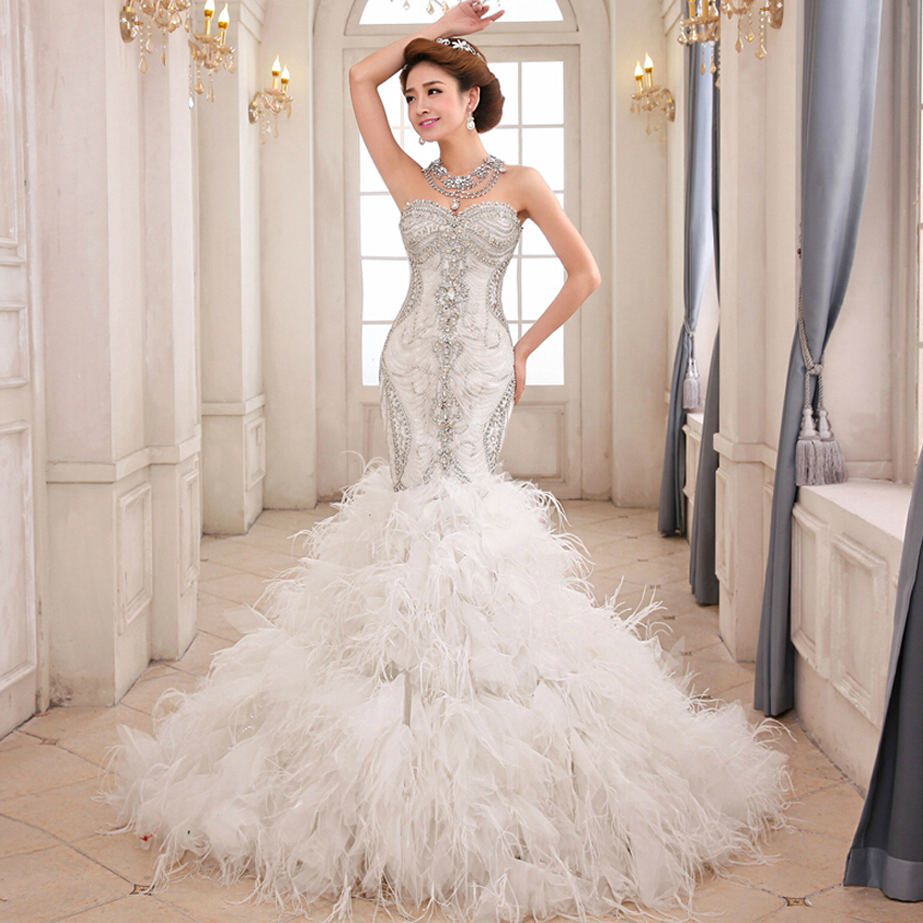 FW1371 Bling Crystal Beads Royal White Mermaid Wedding