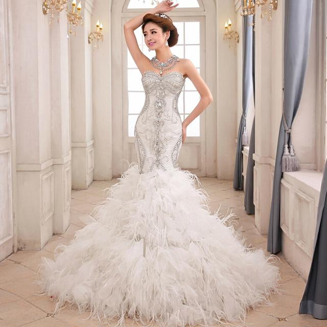 FW1371 Bling Crystal Beads Royal White Mermaid Wedding Dresses 2017 Luxury Sweetheart Fluffy Type Feathers