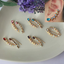 Top Quality 2015 New Four-Prong Setting One Pair CZ Diamonds   Ear Hook Stud Earrings Jewelry Earclips Hot Sale