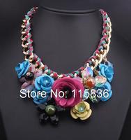 Moda big Marka kolor kwiat tkane liny bawełniane gem stone wisiorek naszyjnik dla kobiet krótki przejaskrawiaj komunikat naszyjniki 98120