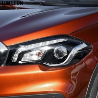 TOMEFON Car Exterior Accessories 2pcs For Suzuki SX4 S Cross Facelift 2017 2018 ABS Chrome Front Head light HeadLight Cover Trim