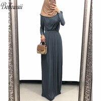 BOHOWAII Fashion Robe Musulmane Longue Long Sleeve Dubai Kaftan Dress V Neck Flowy Formal Muslim Ramadan Dress for Women
