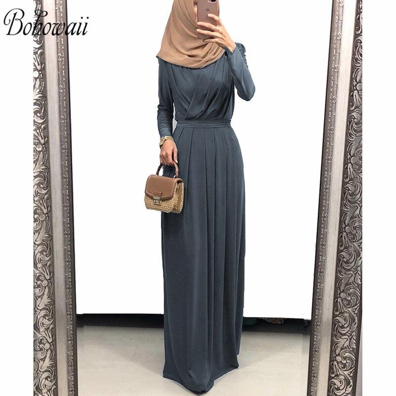 BOHOWAII mode Robe Musulmane Longue à manches longues Dubai caftan Robe col en v fluide formelle Musulmane Ramadan Robe pour les femmes