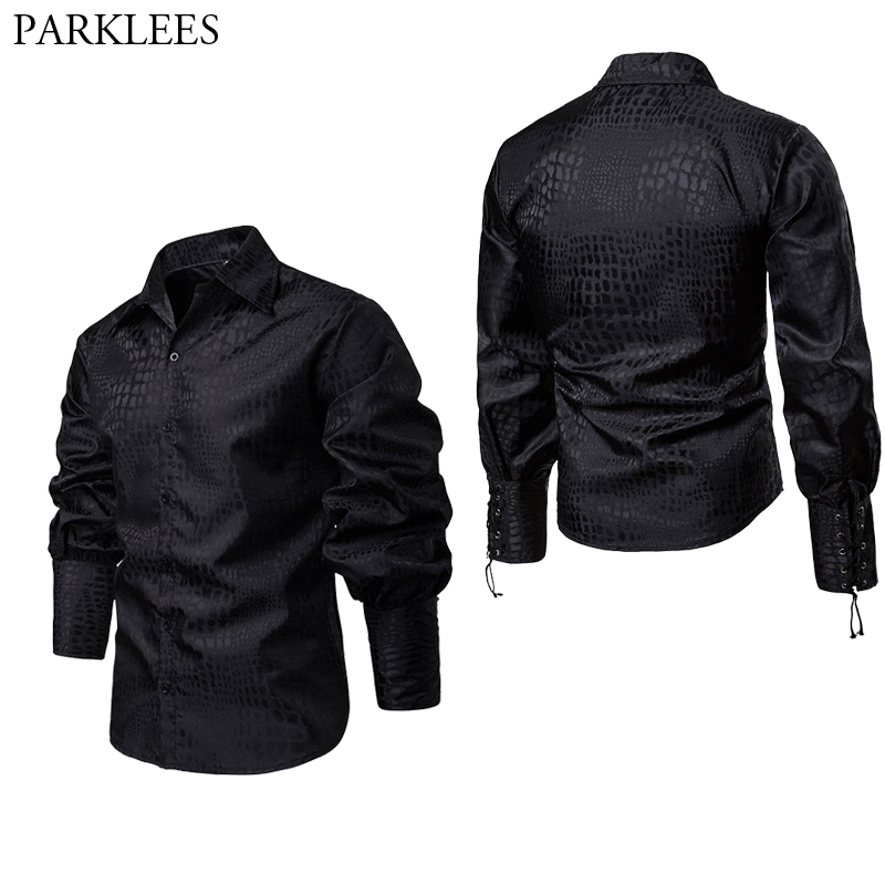 Mens Medieval Pirate Renaissance Shirt 2019 New Mercenary Scottish Bandage Wide Cuff Chemise Homme Victorian Steampunk Clothing