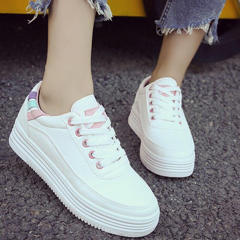 Moxxy 2018 Korean Female Platform White Slip On Shoes Women Leather Flats  Tenis Sneakers Women Zapatos a1229659b612