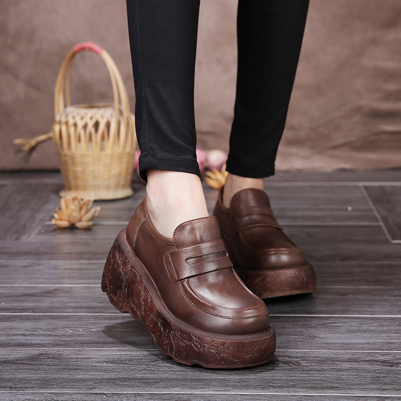 Autumn thick soft bottom slope with waterproof women leather shoes casual comfort single shoes high heels