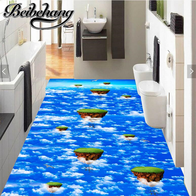 Beibehang Custom Large Floor Decoration Painting Air Suspension Island Blue  Sky White Clouds 3D Self