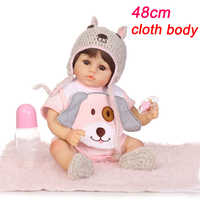 48cm soft Silicone Lifelike Newborn Babies Girl with Lovely Clothes Bebe Reborn Menina Reborn Baby Doll Girl Toys Gifts NPK