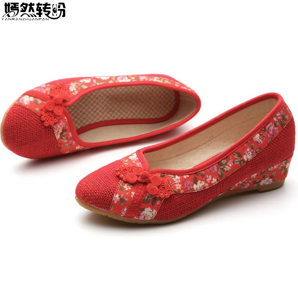 2018 New Women Red Flats Old Beijing Linen Single Shoes Chinese Wedding Bride Embroidery Shoes For Cheongsam Sapato Feminino weowalk 5 colors chinese dragon embroidery women s old beijing shoes ladies casual cotton driving ballets flats big size 34 41