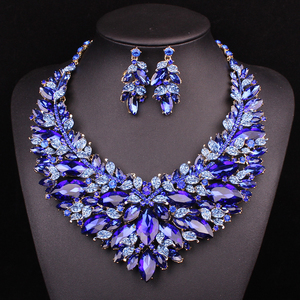 Image 3 - New Gorgeous Bridal Jewelry Sets  Wedding Necklace Earring Set For Brides Party Big Crystal  Accessories Statement Necklace Set