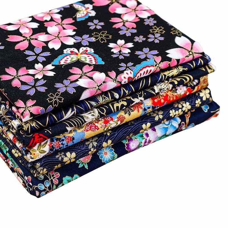 Baskılı bronz koyu mavi pamuklu kumaş japon tarzı çiçek desen kumaş Kimono cheongsam ve DIY çanta TJ8692-2