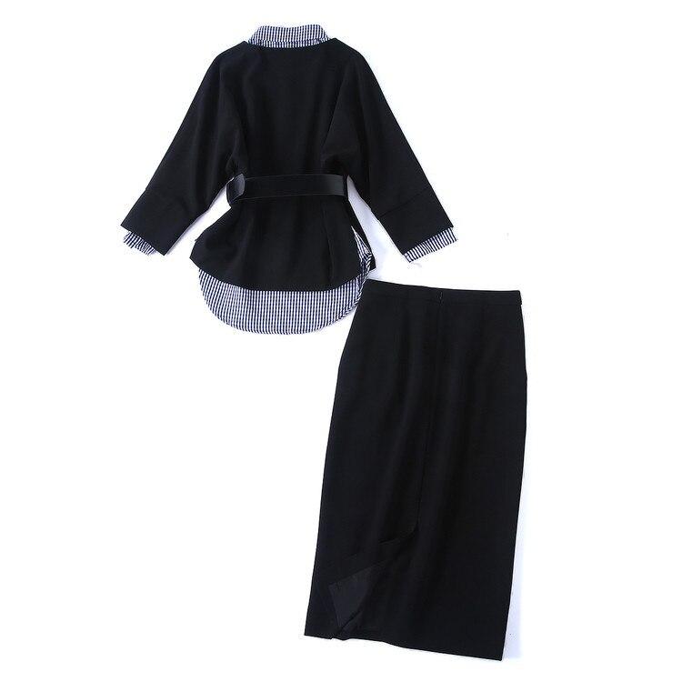 Vers Femmes Pièces 3 Vêtements Show Chemise Qualité Plaid pièce Le Ensemble Casual Trois Tournent Jupe Printemps Haute As Outwear H6418 Bas Costume 8Ixqdw8