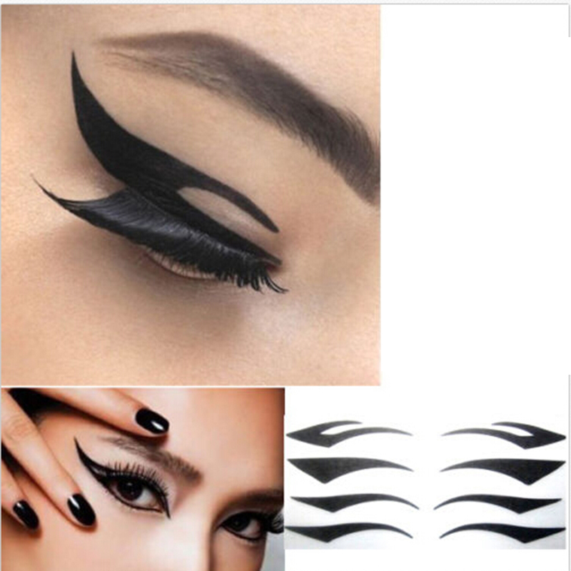 Black 4 Pair/Lot Eyes Sticker Cat Style Eyeliner Sexy Temporary Double Eyeshadow Eyelid Tape Smoky Tattoo Eye Makeup Tools