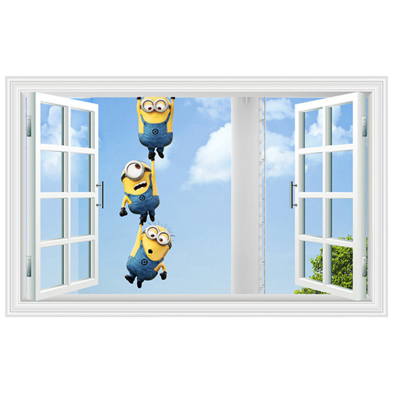 3 Minions Climb Window Anime Wall Decals Blue Sky White