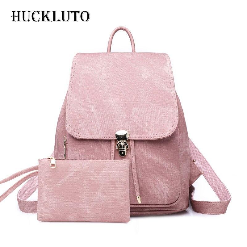 HuckLuto 2019 nouvelle Promotion vente mode luxe Style rétro Portable grande capacité sac à dos en cuir jeunes femmes sac à dos