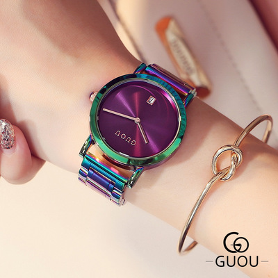 New Fashion design Watches GUOU Luxury Brand Colorful Women Dress All stainless steel watch 2017 quality Quartz Wrist Watch Hot guou new luxury classic ladies stainless steel watch fashion three eyes quartz women watches casual ladies gift wrist watch hot