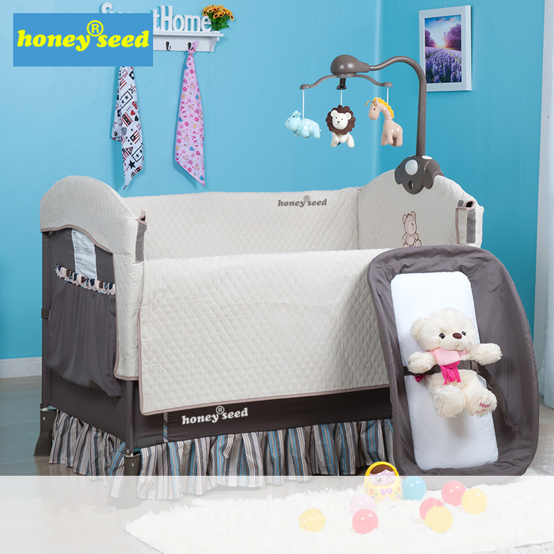 Honeyseed fashion multifunctional baby bed portable game bed bb child bed folding baby bed belt wheel цены онлайн