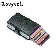 ZOVYVOL 2019 Function PU Leather Card Case New Men Wallet Credit Holder Visiting Aluminum Double Boxes women